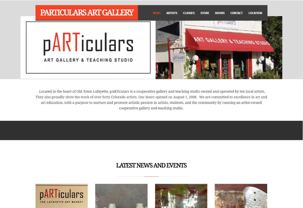 Particulars Art Gallery Website Screenshot