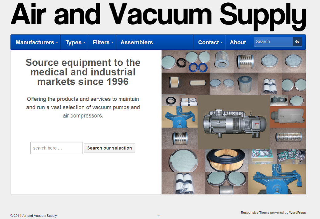Air and Vacuum Supply Website Screenshot