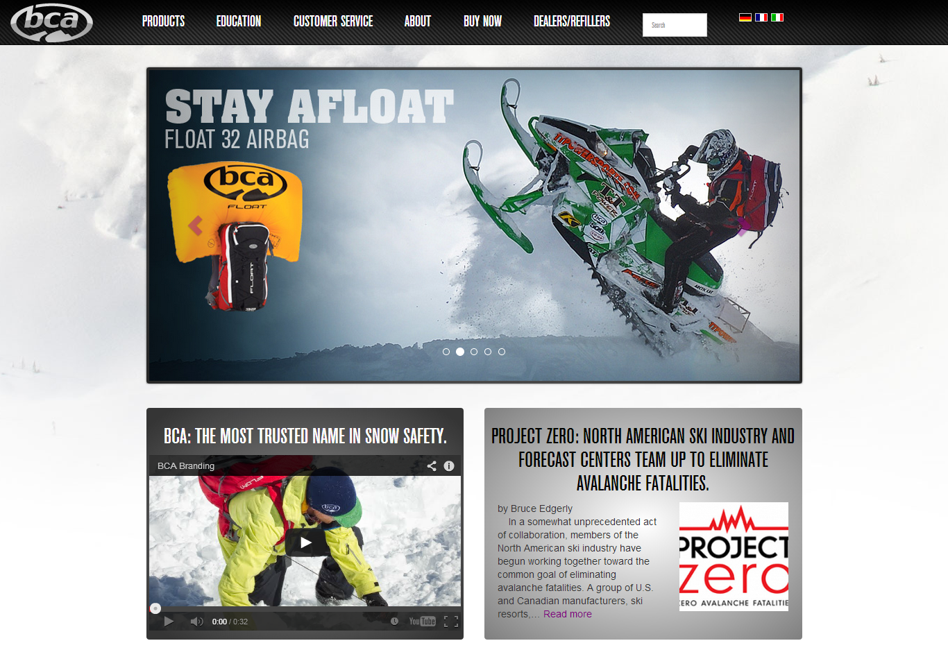 Backcountry Access Website Screenshot