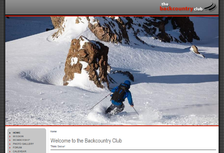 Backcountry Club Website Screenshot