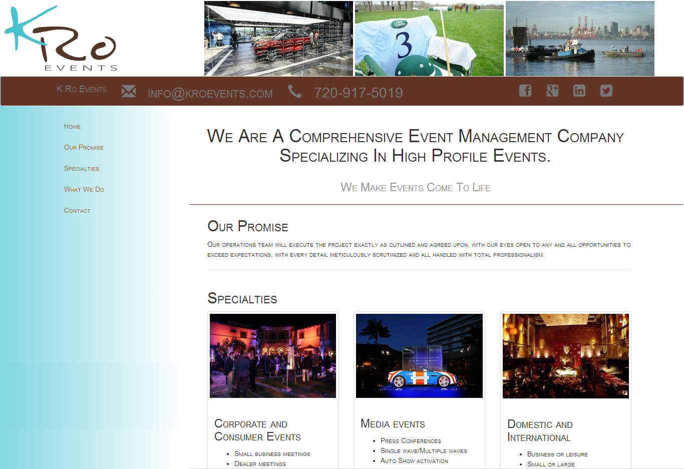K Ro Events Website Screenshot